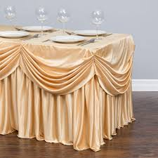 8 ft table skirt ft drape chiffon all in 1 tablecloth pleated skirt chagne