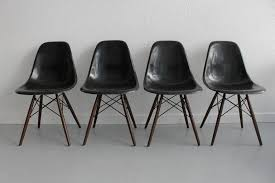Eames Fiberglass Armchair Eames Dowel Black Fiberglass Side Chairs At 1stdibs