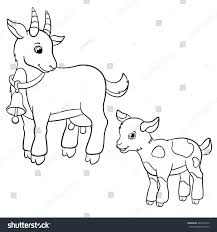 coloring pages farm animals cute mother stock vector 442224910