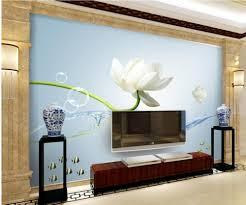 online get cheap lotus flowers 3d wall murals wallpaper