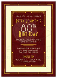 man u0027s 80th birthday invitation maroon gold art deco