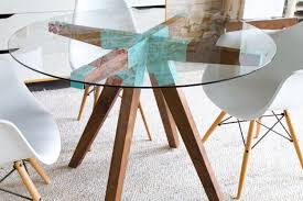small glass kitchen table round dining table handmade wood table modern furniture
