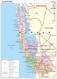 India Map With Cities by Alappuzha District Map Kerala District Map With Important Places