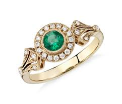 4mm diamond emerald and diamond halo vintage inspired milgrain ring in 14k