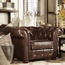 knightsbridge brown bonded leather tufted scroll arm chesterfield