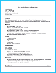bartender resume objective examples sample bartender resume bartender resume example template