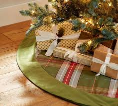 charles plaid tree skirt with green velvet cuff pottery barn