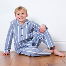 traditional boys blue cotton parry pyjamas