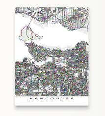 British Columbia Canada Map by Vancouver Map Art Print British Columbia Canada U2013 Maps As Art