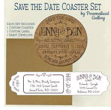 custom save the dates custom save the date invitation cork coasters with envelopes