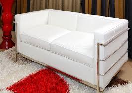 corbusier style modern loveseat in white full leather