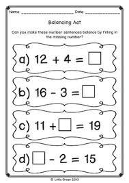 free balancing number sentences math poster and worksheet on