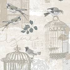 Wallpaper With Birds Birds And Birdcages Beige And Gray Ke29946 Wallpaper