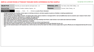 Room Attendant Job Description For Resume by Locker Room Attendant Resume Sample