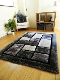 rugs uk modern new grey silver black blocks design luxurious thick pile rug