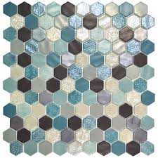 serious gorgeous hexagon mosaic tiles with teal tones https