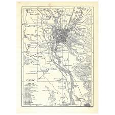 Nile River On Map Cairo Egypt Authentic Antique Map Pre World War I 1910 5x7