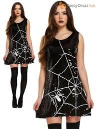 ladies sequin spiderweb halloween costume fancy dress