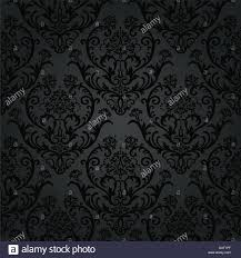 luxury black charcoal floral wallpaper pattern stock photo