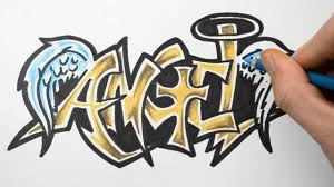 how to draw angel in graffiti writing rough sketch demonstration