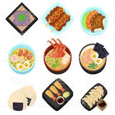 jeux de cuisine japonaise jeu dasie japon aliments savoureux dessin animé icônes menu