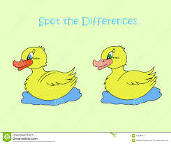yellow duck spot the differences stock vector image 57038014