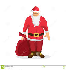 santa claus with a big bag of gifts for christmas card stock