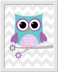 Owl Decor Teal And Purple Owl Nursery Wall Decor Print Owls Gray Chevron