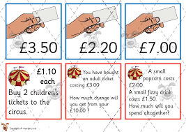 pet circus ticket maths money premium printable classroom