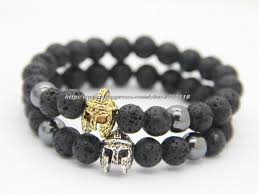 bracelet stone beads images New fashion natural black lava stone beads with spartan helmet jpg