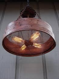 Farm Light Fixtures Rustic Hanging Light Upcycled Vintage Farm Sieve Rustic Light