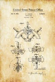 Nautical Decor Store Ship Steering Wheel Patent 1944 Vintage Nautical Naval Art