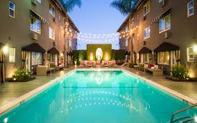 String Lights Over Pool by Grafton Hotel On Sunset West Hollywood Hotels