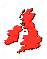 Blank Map Of England by 3d Outline Map Of Uk And Ireland In Red Stock Photo Picture And