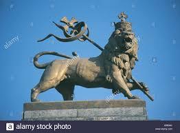 lion of judah statue lion of judah statue at railway station addis ababa stock