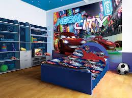 cars super car lightning mcqueen murals neon bed in a children s room 3d image