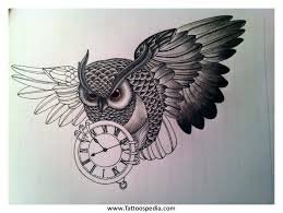 owl tattoo with clock meaning tattoo collection