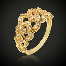 luxury gold rings images Luxury gold color cute engagement rings women jewelry anillos jpg