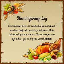 tarjeta para el día de acción de gracias con la cosecha en un