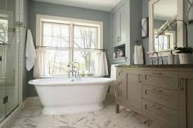 conventional master bathroom design alongside plain grey paint