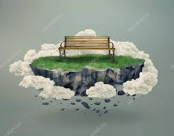 floating rock island with grass u0026 a park bench surrounded by