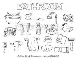 clipart vector of bathroom elements hand drawn set coloring book