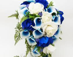 Wedding Flowers Blue And White Royal Blue Bouquet Etsy