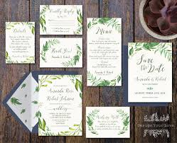printable greenery wedding invitation suite green wedding