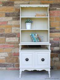 vintage bookcase makeover in country grey in the garage
