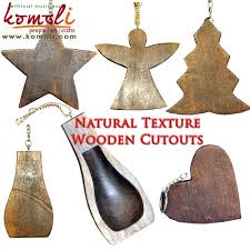 handmade natural wooden shapes star cut out christmas ornaments in