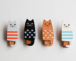 wooden cat wooden cat clothespins design sponge
