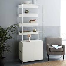 west elm white bookcase lacquer storage bookshelf cabinet 33 west elm