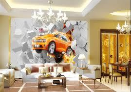 tapisserie chambre ado papier peint 3d personnalisé chambre ados voiture orange wallpaper