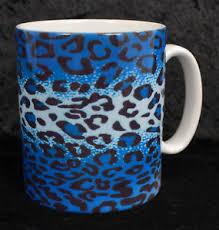 Blue Leopard Print Blue Leopard Print Coffee Mug Cup Rockabilly Goth Punk Psychobilly